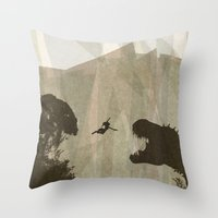 tomb raider Throw Pillows featuring Tomb Raider by s2lart