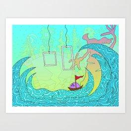 #212: Bowling Through Waves Art Print