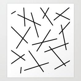 Black and white mikado stripes dash pattern Art Print