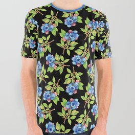 Wild Blueberry Sprigs All Over Graphic Tee