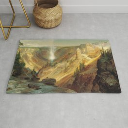 The Grand Canyon Of The Yellowstone 1872 By Thomas Moran | Daylight Watercolor Scenery Reproduction Rug