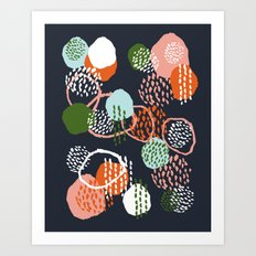 Jonlee - abstract painting watercolor pastel brushstrokes black yellow modern minimal shapes circles Art Print