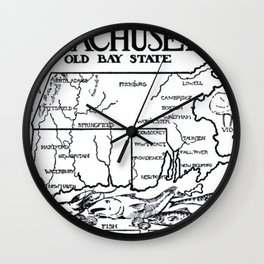 Vintage Illustrative Southern New England States Map (1912) Wall Clock