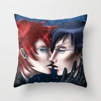 kuroshitsuji Throw Pillows featuring A Kiss in the Snow by Falln