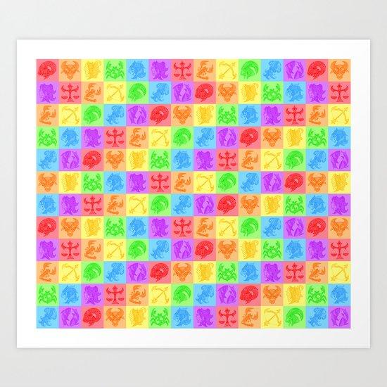 Zodiac Zentangle - All signs (Rainbow Ver.) Art Print