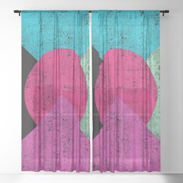 Colorful Abstract Geometric Background Sheer Curtain
