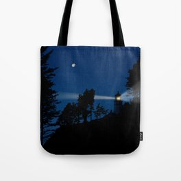 Moon over Heceta Head Light. Tote Bag