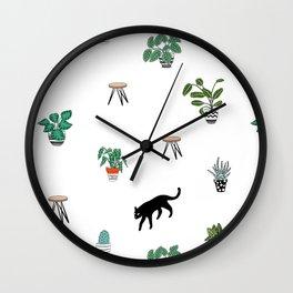 cats and pots pattern Wall Clock