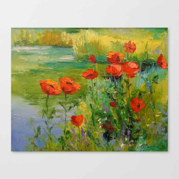 Poppies by the pond Canvas Print