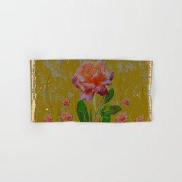 ANTIQUE AVOCADO COLOR  CORAL  PINK ROSES BOTANICAL ART Hand & Bath Towel