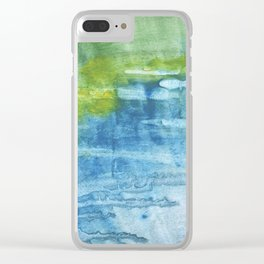 Blue green colored wash drawing Clear iPhone Case