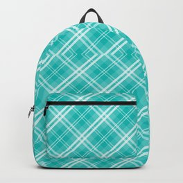 Blue & White Diagonal Plaid Scottish Clan McTiffany Backpack