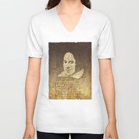 shakespeare V-neck T-shirts featuring William Shakespeare by Vi Sion