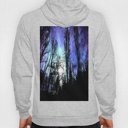 Black Trees Periwinkle Blue Lavender SPACE Hoody