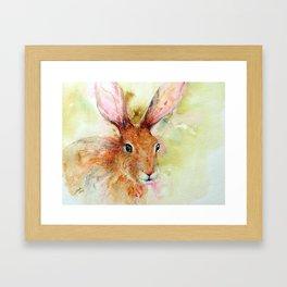 Brown Hare Hiding Framed Art Print