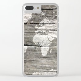 world map wood 1 Clear iPhone Case
