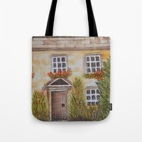 college Tote Bags featuring Christ College by Natillustratecreate