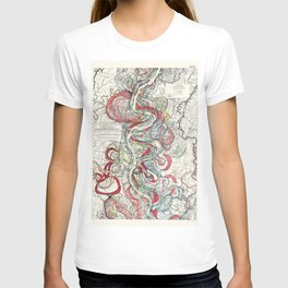 Beautiful Vintage Map of the Mississippi River T-shirt