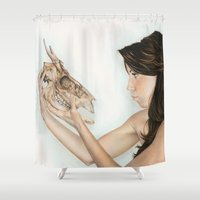 animal skull Shower Curtains featuring Confrontation, animal skull and human by Alexandra Bastien