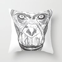 ape Throw Pillows featuring Ape by Eugene Lee