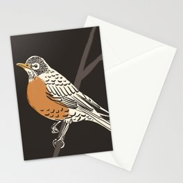 Dark American Robin Painting Stationery Cards