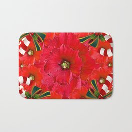 RED HOLIDAYS CANDY CANES & RED  FLOWER ABSTRACT Bath Mat
