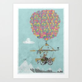 Riding A Bicycle Through The Mountains Art Print