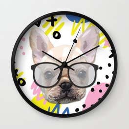 Dog with glasses Wall Clock