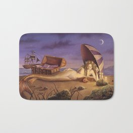 The Reading Mermaid by David Delamare (uncropped) Bath Mat