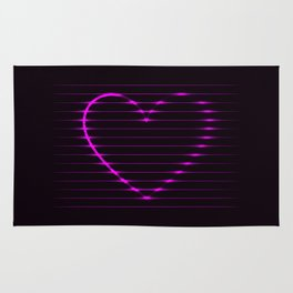 Pink abstract neon glowing lines in a heart shape on a dark background Rug