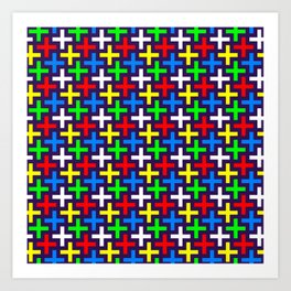 Colorful crosses pattern Art Print