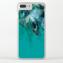 DREAMY FEATHERS & LEAVES - Deep Cyan Clear iPhone Case
