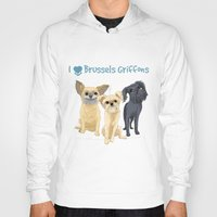 brussels Hoodies featuring Brussels Griffon by Bark Point Studio
