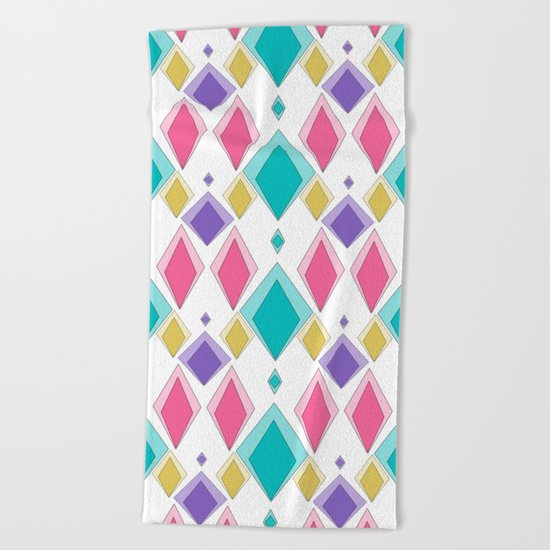 Multi-colored diamonds . Retro . Beach Towel