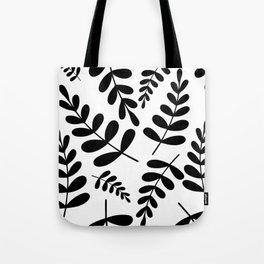 Black leave pattern on white Tote Bag