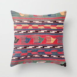 Southwestern Nomad III // 18th Century Colorful Red Blue Green Yellow Shapes and Bands Pattern Throw Pillow
