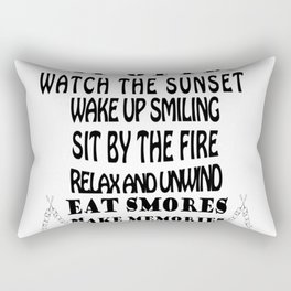 camping rules drink a cold one visit with friends be gratefull Rectangular Pillow