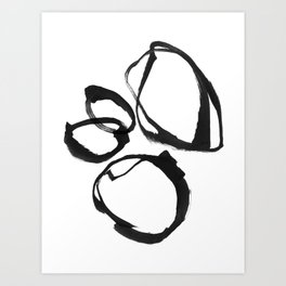 Minimalist Abstract Black Ink Painting Rings 2 Art Print