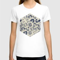 bedding T-shirts featuring Hand Painted Triangle & Honeycomb Ink Pattern - indigo & cream by micklyn