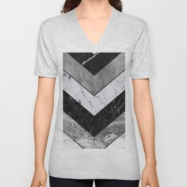 Shimmering mirage - grey marble chevron Unisex V-Neck