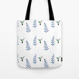 Hummingbird with tropical leaves watercolor pattern Tote Bag