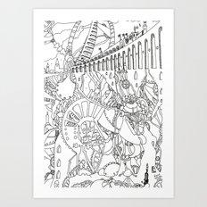 Line Drawing Fantasy [Pen Drawing Illustration] Art Print