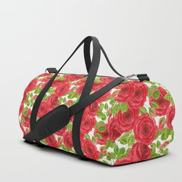 Red watercolor roses with leaves and buds pattern Duffle Bag