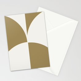 Diamond Series Round Checkers White on Gold Stationery Cards
