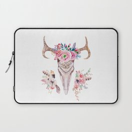 Deer skull with feathers and flowers Laptop Sleeve