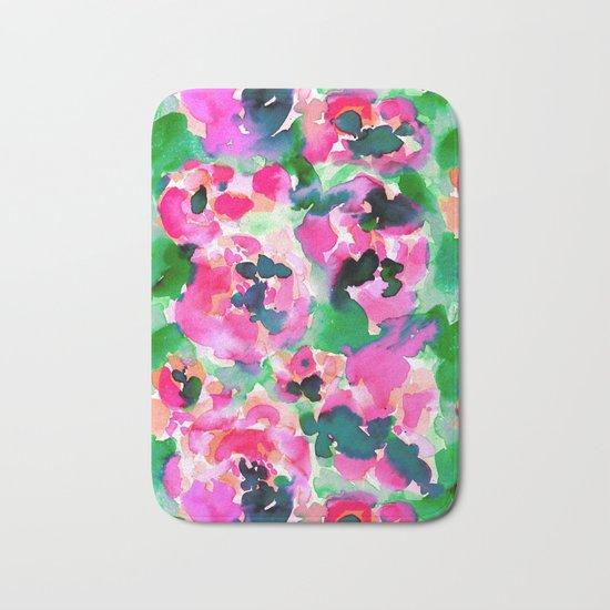 Abstract Flora Green Bath Mat