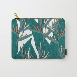 tropical strelitzia flowers leaf sketch, black contour pink coral yellow green. simple ornament Carry-All Pouch
