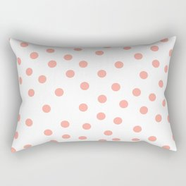 Simply Dots in Salmon Pink on White Rectangular Pillow