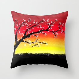 Drawing Sunset and a Blossom Tree Throw Pillow