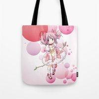 madoka Tote Bags featuring Madoka Kaname by Yue Graphic Design